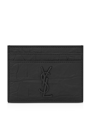 Saint Laurent Croc Embossed Monogram Card Case-Men