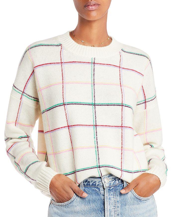 AQUA - Plaid Crewneck Cashmere Sweater - 100% Exclusive