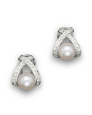 Cultured Pearl X Earrings with Diamonds, 7mm