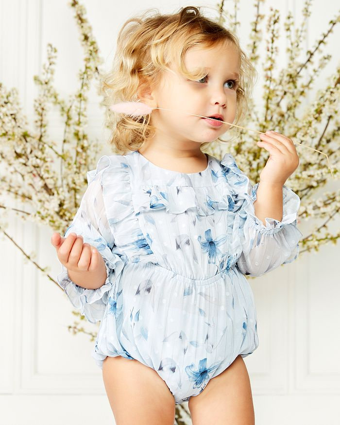 Bardot Junior Girls' Abbie Printed Ruffled One Piece - Baby In Blue Lily