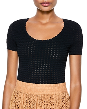 Alice + Olivia Ciara Cropped Short Sleeve Sweater