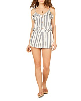 Vintage Havana - Sleeveless Ruffled Striped Romper