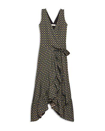 Tory Burch - Printed Ruffle Wrap Midi Dress