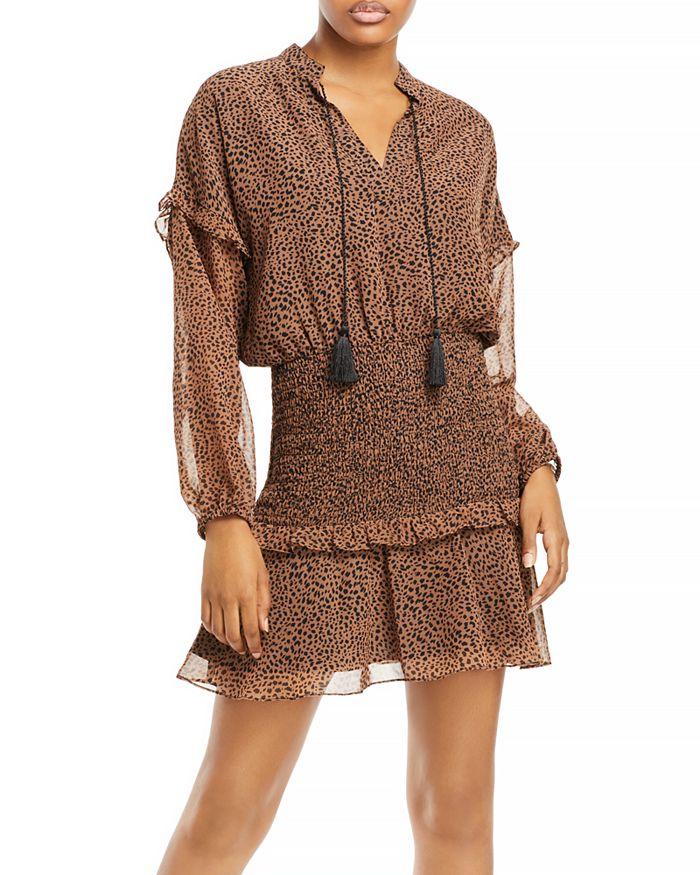 AQUA - Leopard Print Ruffled Mini Dress - 100% Exclusive