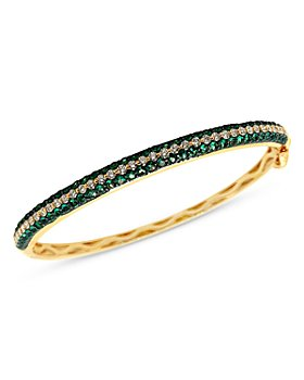 Bloomingdale's - Emerald and Diamond Bangle Bracelet in 14K Yellow Gold - 100% Exclusive