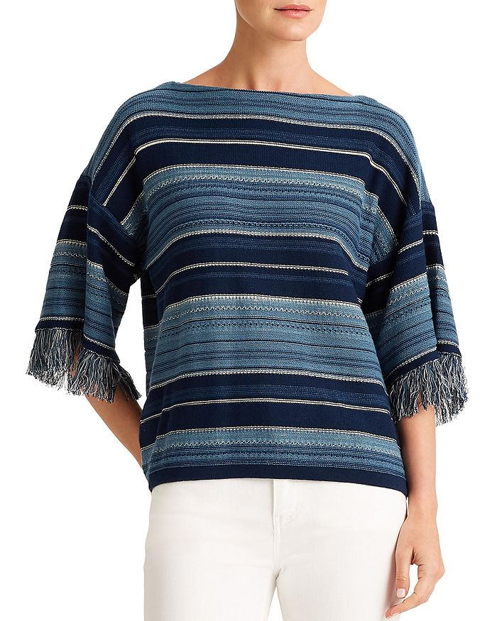 Ralph Lauren - Striped Fringe Cotton Sweater