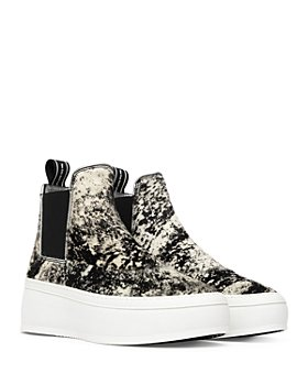 P448 - Women's Lucy High Top Faux Fur Pull On Platform Sneakers