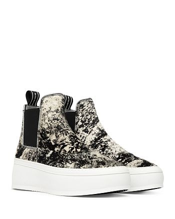 P448 - Women's Lucy High Top Calf Hair Pull On Platform Sneakers