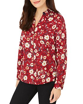 Foxcroft - Floral Print Button Front Shirt
