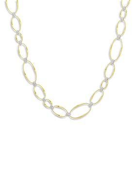Marco Bicego - 18K Yellow & White Gold Onde Diamond Station Necklace, 17.75""