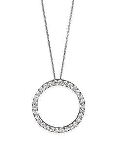"Roberto Coin 18K White Gold and Diamond Large Circle Necklace, 16"" - Bloomingdale's_0"