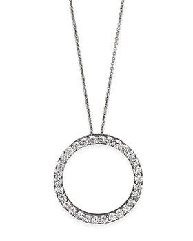 "Roberto Coin - Roberto Coin 18K White Gold and Diamond Large Circle Necklace, 16"""