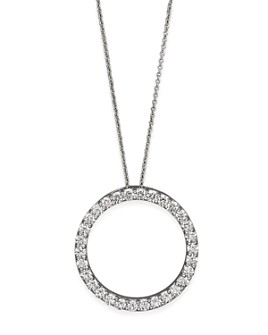 Roberto Coin - Roberto Coin 18K White Gold and Diamond Large Circle Necklace, 16""