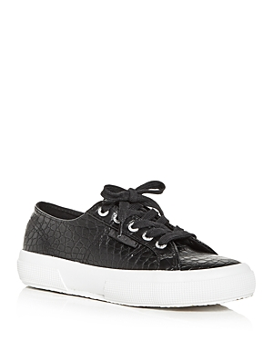 Superga WOMEN'S CROC EMBOSSED LOW TOP SNEAKERS