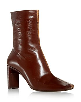 Miista - Women's Ekatarina Snake Embossed Square Toe Block Heel Boots