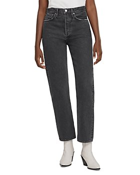 AGOLDE - 90's Pinch Waist High Rise Straight Leg Jeans in Black Tea