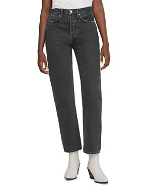 Agolde 90's Pinch Waist High Rise Straight Leg Jeans in Black Tea