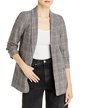 Blanknyc Ruched Sleeve Plaid Blazer-Women