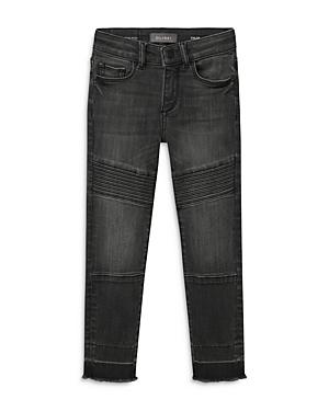 DL1961 Girls\\\' Chloe Skinny Black Moto Jeans - Big Kid-Kids