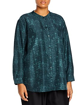 Eileen Fisher Plus - Plus Size Mandarin Collar Abstract Print Silk Top