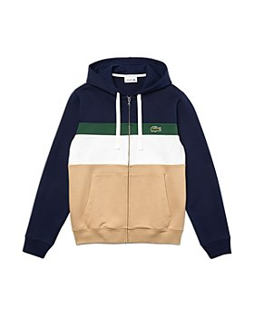 Lacoste - Cotton Color Blocked Striped Classic Fit Full Zip Hoodie