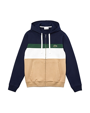 Lacoste Cotton Color Blocked Striped Classic Fit Full Zip Hoodie In Viennois Multi