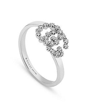Gucci - 18K White Gold Running Diamond Interlocking G Statement Rin