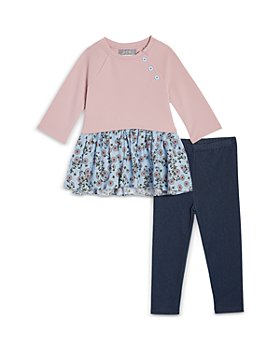Pippa & Julie - Girls' Floral Print Peplum Top & Denim Leggings Set - Little Kid