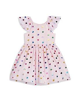 Pippa & Julie - Girls' Metallic Heart Print Mesh Dress - Little Kid