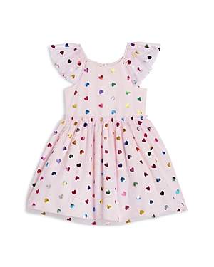 Pippa & Julie Girls\\\' Metallic Heart Print Mesh Dress - Little Kid-Kids