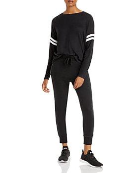 AQUA - Stripe Sleeve Knit Sweatshirt & Sweatpants - 100% Exclusive