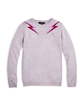 AQUA - Girls' Double Lightning Bolt Cashmere Sweater - Big Kid