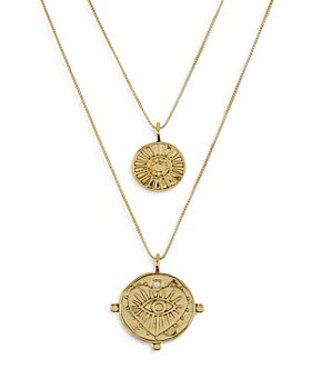 "Luv Aj - Evil Eye Cubic Zirconia Coin Double Row Pendant Necklace, 16""-18"""