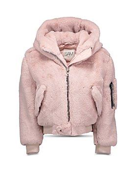 SAM. - Girls' Hooded Faux Fur Bomber Jacket - Little Kid