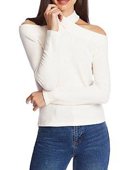1.STATE - High Neck Cold Shoulder Sweater