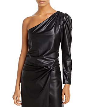 Lucy Paris - One Shoulder Faux Leather Top