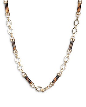 "Ralph Lauren - Tortoise Look Barrel Beaded Collar Necklace, 16""-19"""