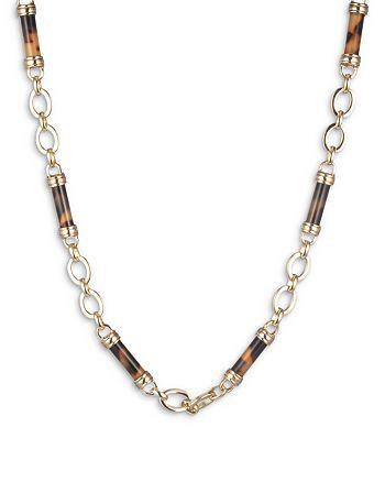 """Ralph Lauren - Tortoise Look Barrel Beaded Collar Necklace, 16""""-19"""""""