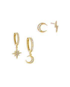 Adinas Jewels - Pavé Celestial Mismatch Earrings, Set of 4