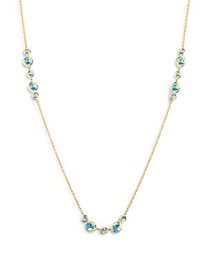 18K Yellow Gold Cardan Blue Russian Quartz Station Necklace