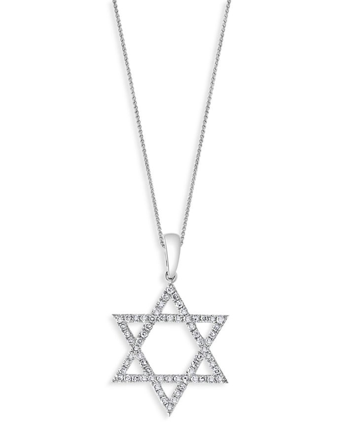 """Bloomingdale's Diamond Star of David Pendant Necklace in 14K White Gold, 18"""", 0.25 ct. t.w. - 100% Exclusive  