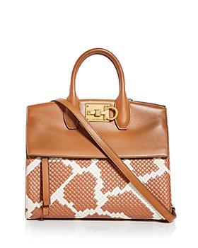 Salvatore Ferragamo - Studio Bag Giraffe Spot Woven Leather Satchel