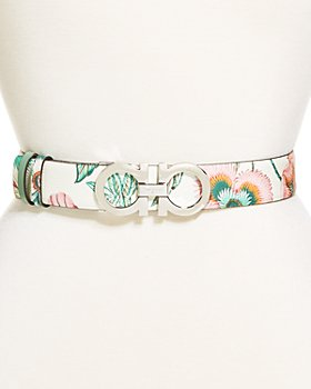 Salvatore Ferragamo - Women's Double Gancini Floral Leather Belt
