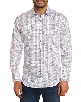 Robert Graham - The Bruni Cotton Stretch Abstract Rainbow Grid Classic Fit Button Up Shirt