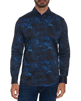 Robert Graham - Cotton Blend Abstract Camouflage Tailored Fit Button Up Shirt