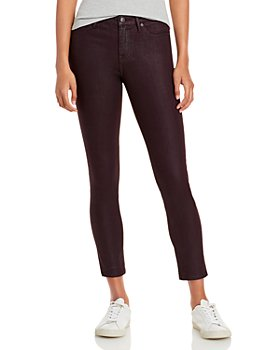 AQUA - High Rise Coated Skinny Jeans in Burgandy - 100% Exclusive
