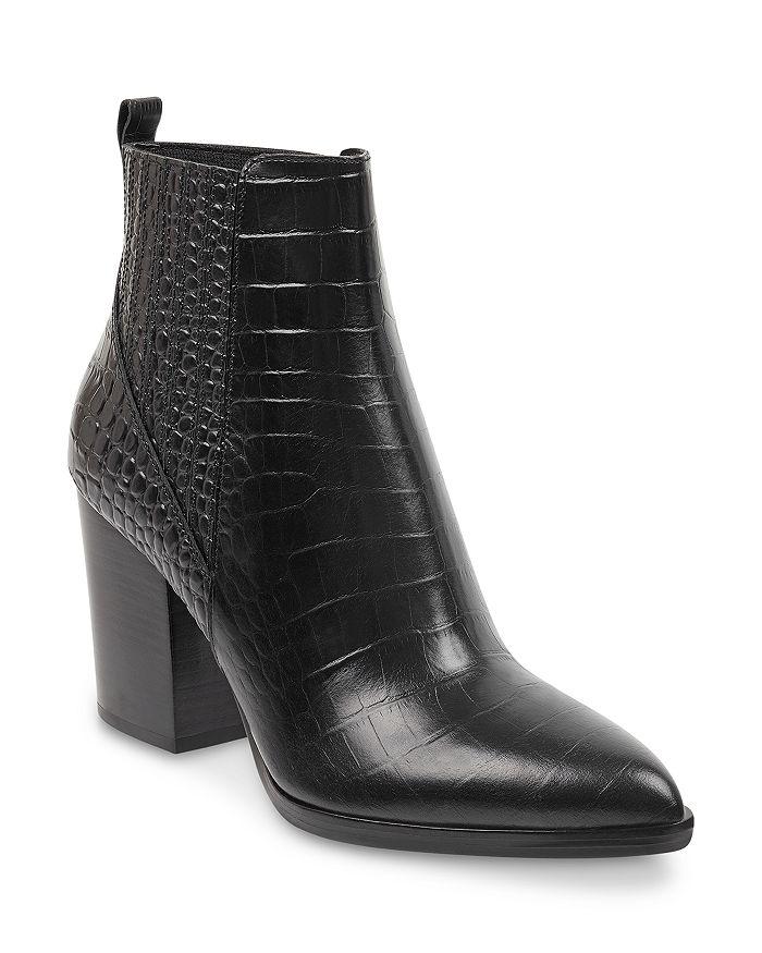 Marc Fisher Ltd. Women's Alva High Block Heel Booties In Black Croc Leather