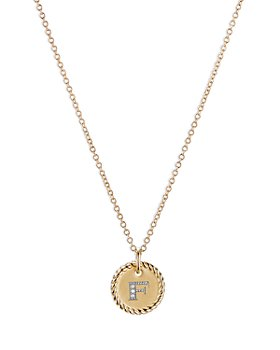 David Yurman - F Initial Charm Necklace with Diamonds in 18K Gold, 16-18""