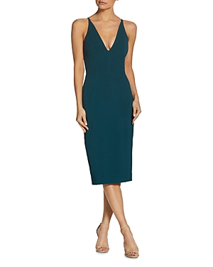 Size & Fit Fits true to size, order your normal size Designed for a bodycon fit Slightly stretchy fabric Designed to hit at mid calf Approx. 47 from high point shoulder to hem, based on a size small Model measurements: 5\\\'10 height, 33.5 bust, 23.5 waist, 34.5 hips, wearing a size small Features