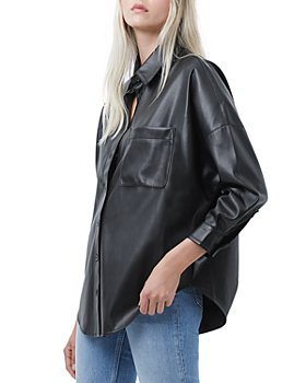 FRENCH CONNECTION - Rhodes Faux Leather Button Down Shirt